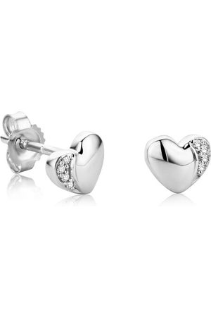 DIAMADA Damen Uhren - Ohrringe 0.02ct Diamond Heart Stud Earring 18KT White Gold weißgold