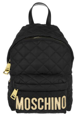 Moschino Damen Rucksäcke - Rucksack Quilted Nylon Backpack Small Black/Gold