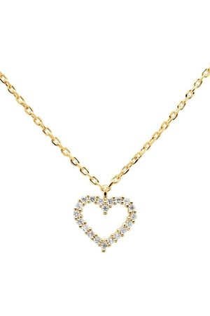 PDPAOLA Damen Halsketten - Halskette Necklace Heart White/Yellow Gold gelbgold