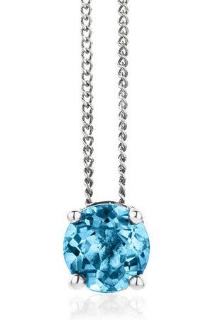 DIAMADA Halskette 14KT Blue Topaz Necklace White Gold weißgold
