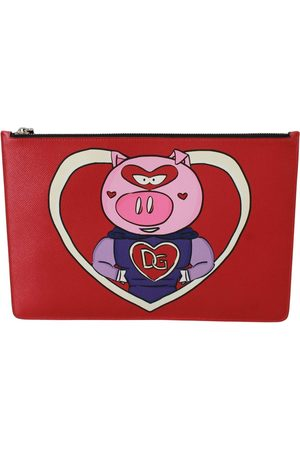 Dolce & Gabbana Red Year of the Pig Leather Documents Pouch , Herren, Größe: One size