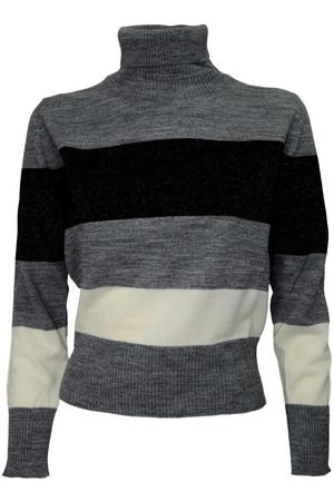 CASHMERE COMPANY Stripe Gray Turtleneck 356 , Damen, Größe: 44 IT