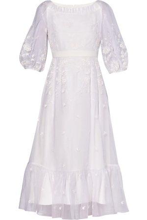 Erdem Floredice Floral-embroidered Organza Midi Dress
