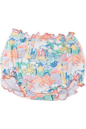 Bonpoint Mädchen Badehosen - Gerüschte Badeshorts mit Strand-Print