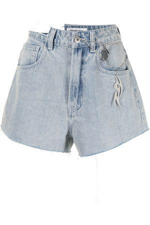 Ground Zero Damen Cropped - Jeans-Shorts im Distressed-Look