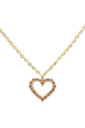 PDPAOLA Damen Halsketten - Halskette Necklace Heart Lavender/Yellow Gold lila