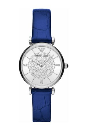 Emporio Armani Uhr Ladies Two-Hand Leather Watch blau