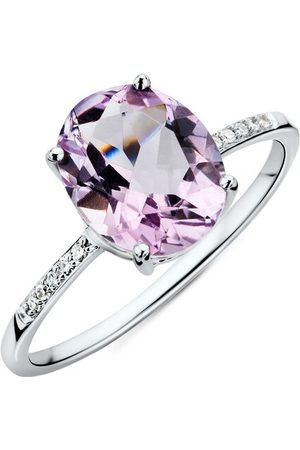 BELORO Ring 9CT Diamond and Amethyst Ring White Gold lila