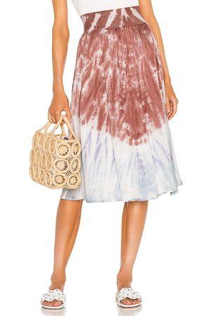 Chaser Stretch Silky Basics Rib Waist Faux Wrap Midi Skirt in ,Blue. Size S, XS, M.