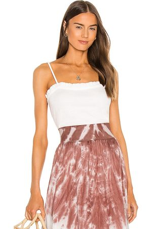 Chaser Linen Rib Ruffle Cami in . Size S, XS, M.