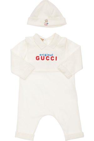 Gucci Spielanzug, Latz Und Mütze Aus Baumwolljersey