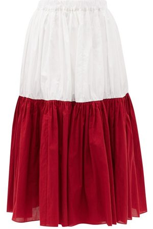 Sara Lanzi Bi-colour Banded Cotton-poplin Midi Skirt