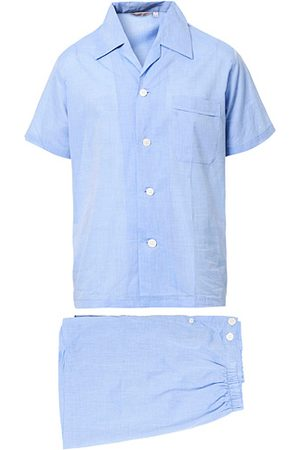 DEREK ROSE Shortie Cotton Pyjama Set Blue
