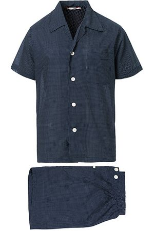 DEREK ROSE Shortie Polka Dot Cotton Pyjama Set Navy