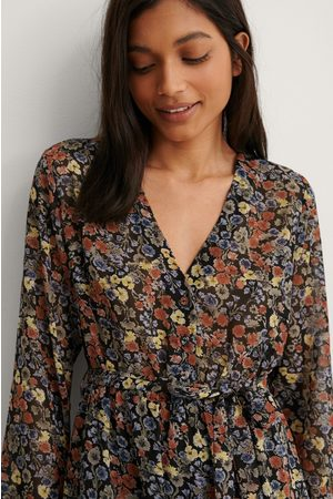 NA-KD Damen Bedruckte Kleider - Self-Tie Printed Midi Dress - Multicolor