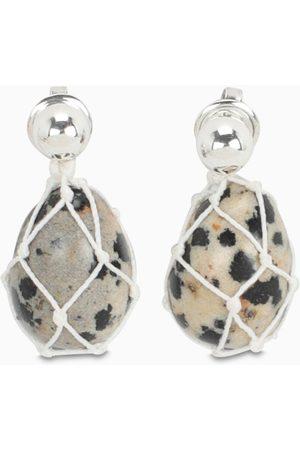 Bottega Veneta White pendant earrings with Dalmatian stone