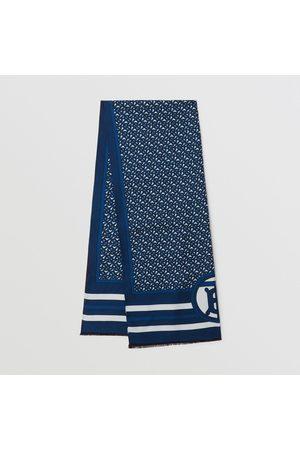 Burberry Damen Schals - Wendbarer Seidenschal mit Monogrammmuster, Cerulean Blue
