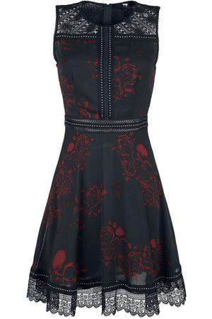 Black Premium by EMP Schwarzes Kleid mit Alloverprint, Nieten- und Spitzendetails Mittellanges Kleid