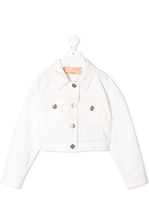 Elisabetta Franchi La Mia Bambina Cropped-Jeansjacke mit Brusttaschen