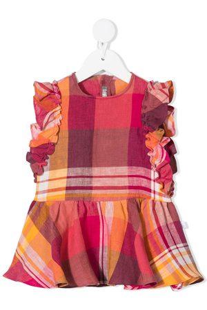 Il gufo Kariertes Kleid mit Rüschen