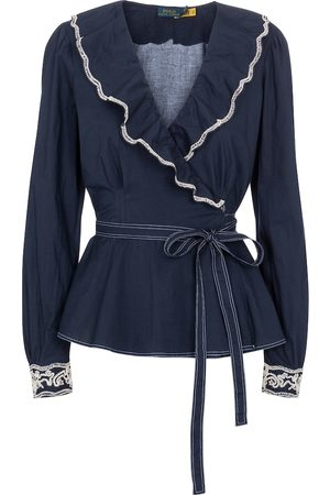 Polo Ralph Lauren Damen Longsleeves - Wickel-Top aus Baumwolle