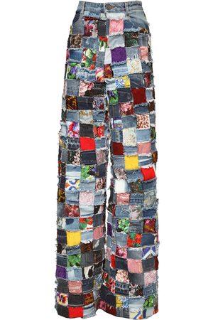 Dolce & Gabbana Damen Cropped - Jeans Mit Jacquard- Und Patchwork-design