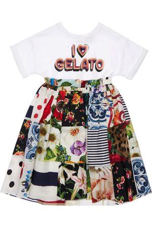 Dolce & Gabbana Kleid Aus Baumwolljersey Und -popeline