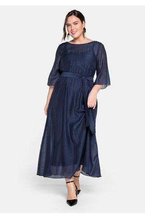 sheego Damen Abendkleider - Abendkleid lang in sehr weiter Form mit Bindeband, dunkelblau, Gr.44