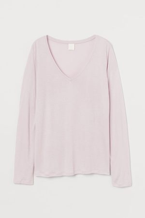H&M Jerseyshirt mit V-Ausschnitt