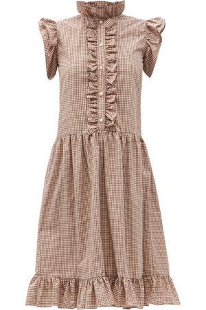 Batsheva Damen Freizeitkleider - Claude Low-waist Ruffled Gingham Cotton Dress