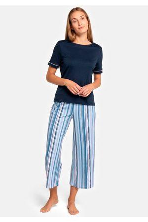Seidensticker Pyjama mit gestreifter Caprihose