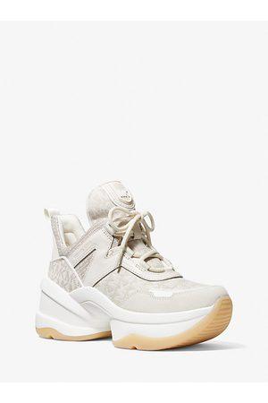 Michael Kors Damen Sport BHs - MK Sneaker Olympia Aus Jacquard Mit Logomuster Und Glitzerndem Mesh Im Kettendesign - Beige Combo - Michael Kors
