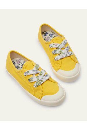 Boden Mini Mädchen Halbschuhe - Leinenschuhe mit Blumenschnürsenkeln Yellow Mädchen Boden