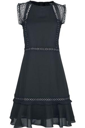 Black Premium by EMP Schwarzes Kleid mit Ösen- und Spitzendetails Mittellanges Kleid schwarz