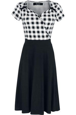 Rock Rebel Schwarz/weiß kariertes Kleid im 50ies Look mit kariertem Oberteil Mittellanges Kleid schwarz/weiß