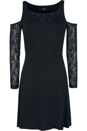 Black Premium by EMP Schwarzes Cold-Shoulder Kleid mit Spitzenärmeln Kurzes Kleid schwarz