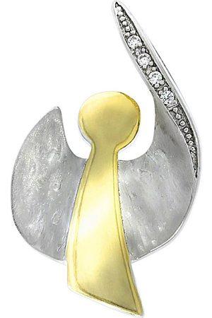 vivance collection Kettenanhänger »925/- Sterling Silber Engel vergoldet Zirkonia«, Anhänger