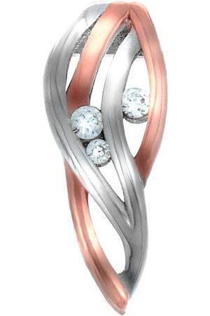 vivance collection Kettenanhänger »925/- Sterling Silber rotvergoldet 3x Zirkonia«, Anhänger