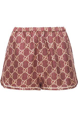 Gucci Damen Shorts - Shorts Aus Seidentwill Mit Logodruck