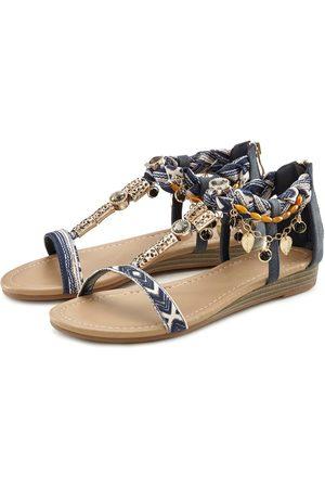 Lascana Damen Keilabsätze - Sandalette mit kleinem Keilabsatz und mit modischer Verzierung