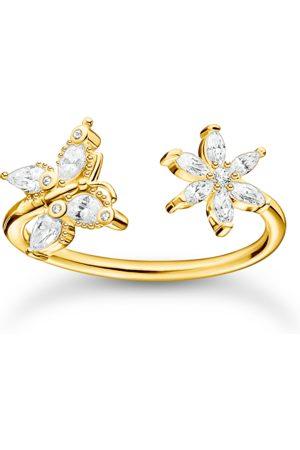Thomas Sabo Damen Ringe - Ring Schmetterling mit Blume weiße Steine gold