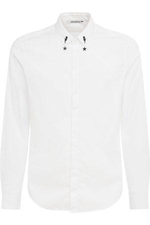 Neil Barrett Herren Freizeit - Bedrucktes Popeline-hemd Mit Kragen