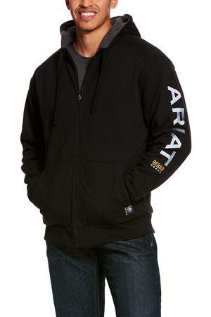 Ariat Men's Rebar All-Weather Full Zip Hoodie Long Sleeve Fleece in Black Cotton