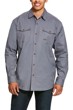 Ariat Men's Rebar Made Tough DuraStretch Classic Fit Work Shirt Long Sleeve in Steel Cotton