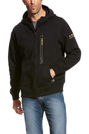 Ariat Men's Rebar Workman Full Zip Hoodie Long Sleeve Fleece in Black Cotton