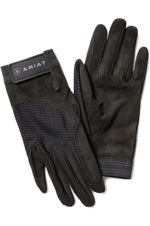 Ariat Air Grip Gloves in Black Cotton Twill