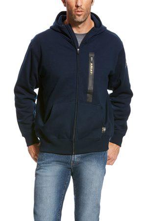 Ariat Herren Longsleeves - Men's Rebar Workman Full Zip Hoodie Long Sleeve Fleece in Navy Cotton