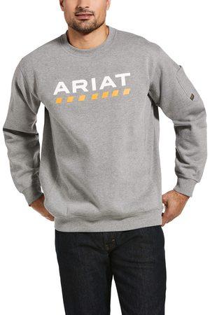 Ariat Herren Longsleeves - Men's Rebar Workman Logo Sweatshirt Long Sleeve Fleece in Heather Grey Cotton