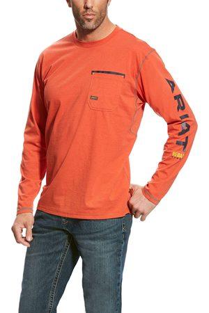 Ariat Herren Longsleeves - Men's Rebar Workman Logo Top Long Sleeve in Volcanic Fire Cotton
