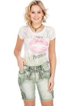MARJO Damen Cropped - Jeanshose DENISE Bermuda pastellgrün